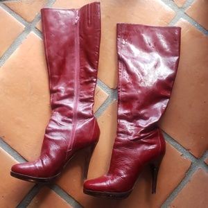 Aldo red to the knee leather boots